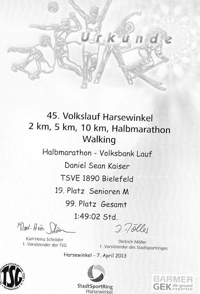 Harsewinkel 2013 - Urkunde