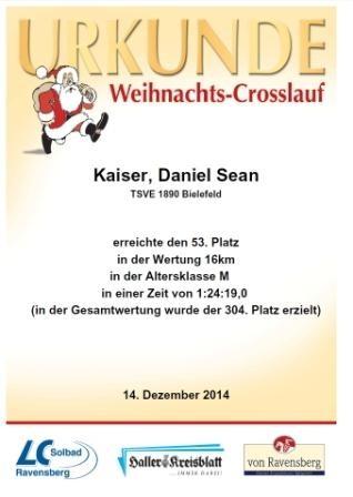 Weihnachtscrosslauf Borgholzhausen 2014 - Urkunde