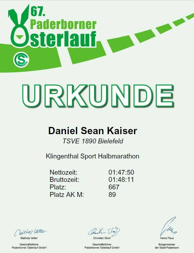 Osterlauf Paderborn 2013 - Urkunde