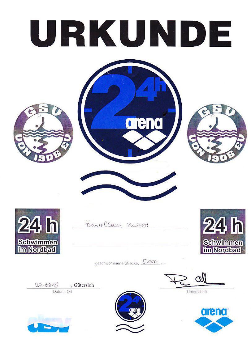 24 h Swim 2015 - Urkunde