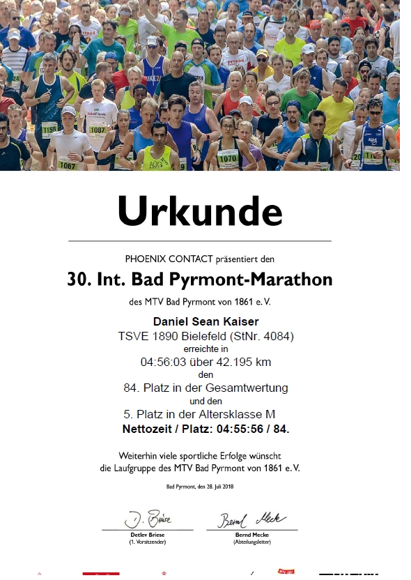 Bad Pyrmont Marathon 2019 - Urkunde (42,195 KM)