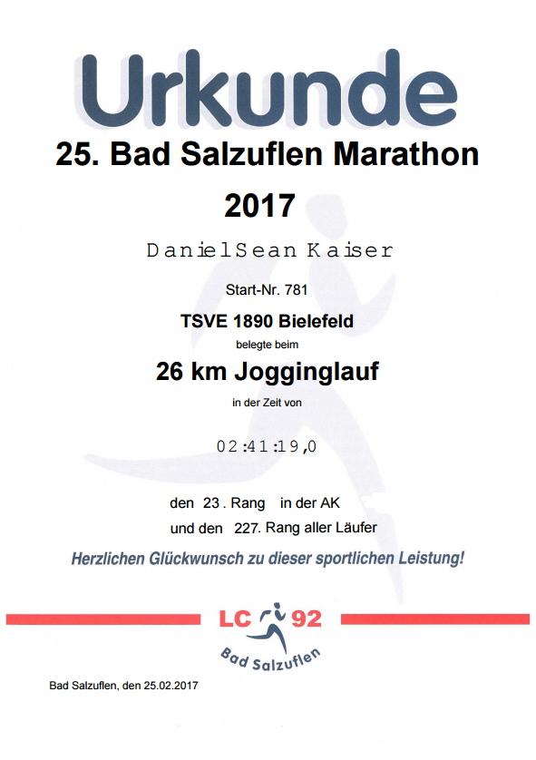 Bad Salzuflen (Block-)Marathon 2017 - Urkunde