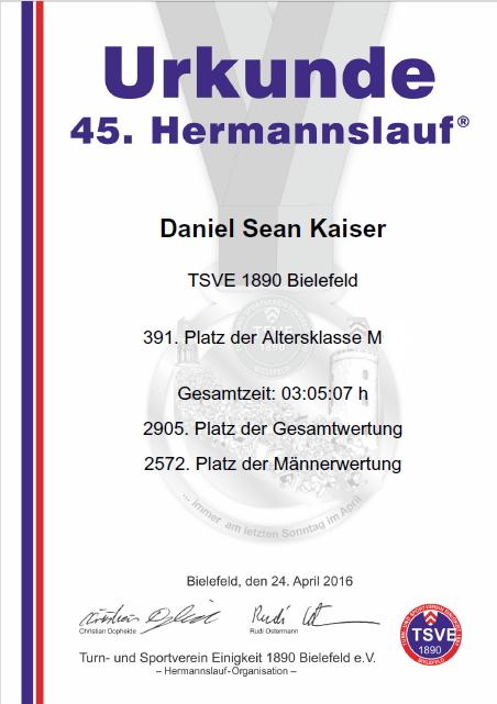 Hermannslauf 2016 - Urkunde