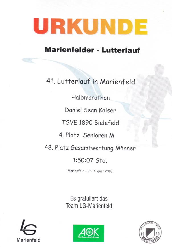 Lutterlauf Marienfeld 2018 - Urkunde