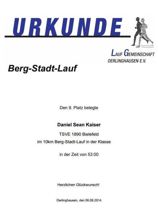 Berg-Stadt Lauf Oerlinghausen 2014 - Urkunde