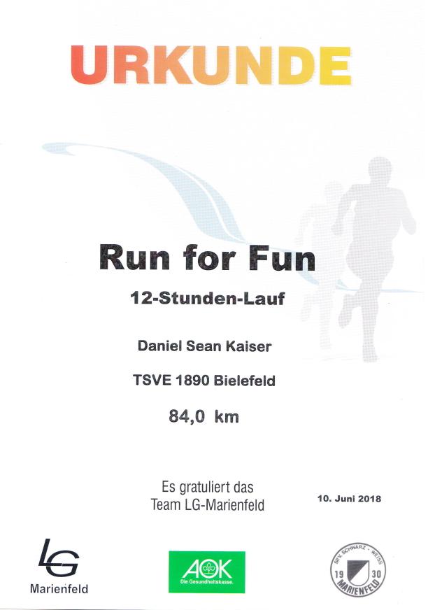 Run for Fun 2018 - Urkunde