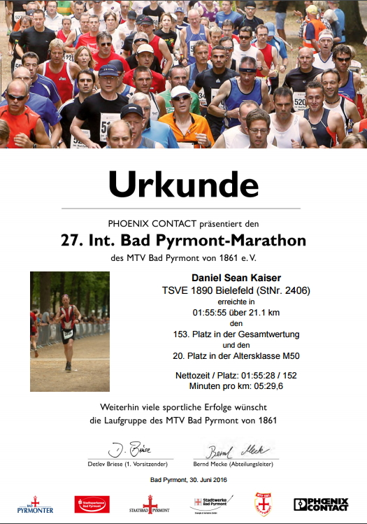 Bad Pyrmont (Halb-)Marathon 2016 - Urkunde