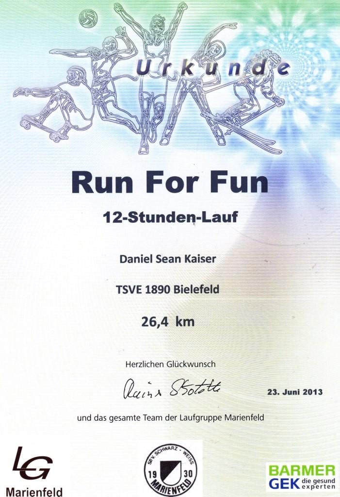 Run for Fun Marienfeld 2013 - Urkunde