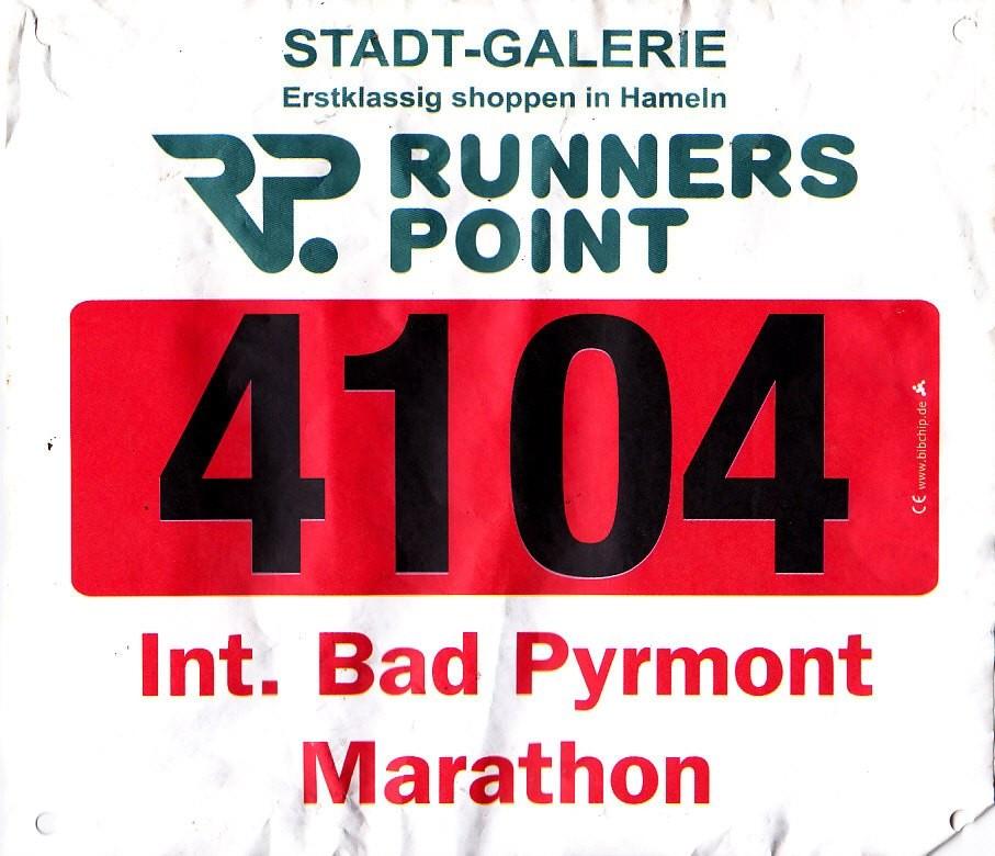 Int. Bad Pyrmont Marathon 2014 - Startnummer DSK