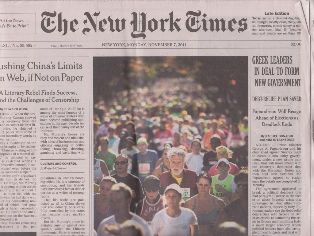 New York Times, 7. November 2011 -  New York Marathon 2011