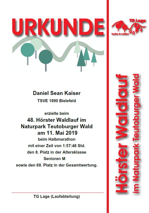 Hörster Waldlauf 2019 - Urkunde