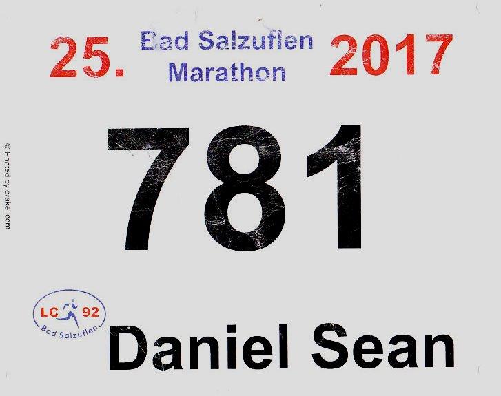 Bad Salzuflen (Block-)Marathon 2017 - Startnummer