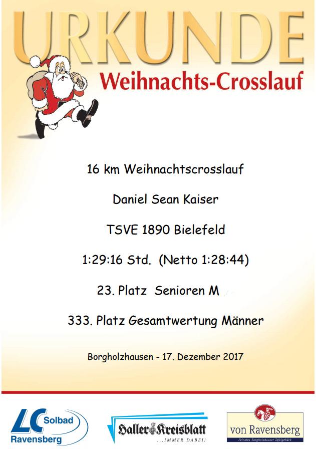Weihnachtscrosslauf 2017 - Urkunde