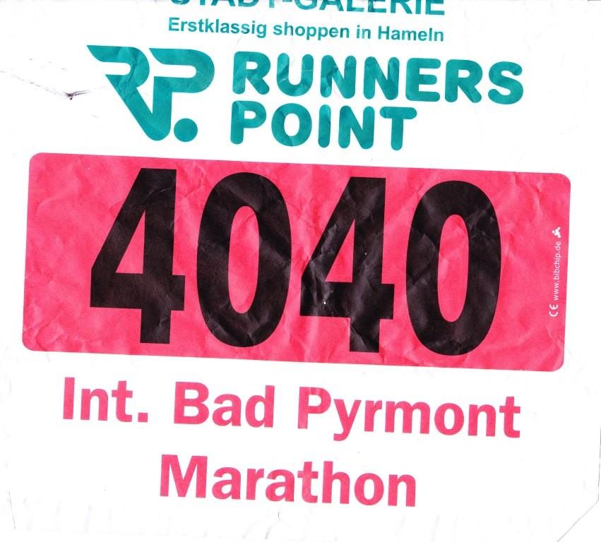 Bad Pyrmont Marathon 2012 - Startnummer 4040