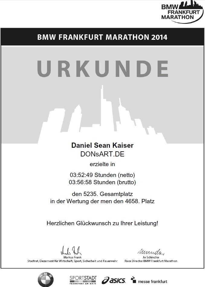Frankfurt Marathon 2014 - Urkunde