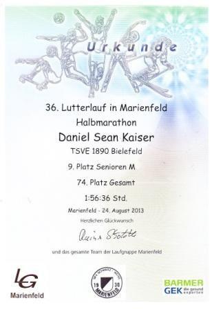 Lutterlauf Marienfeld 2013 - Urkunde