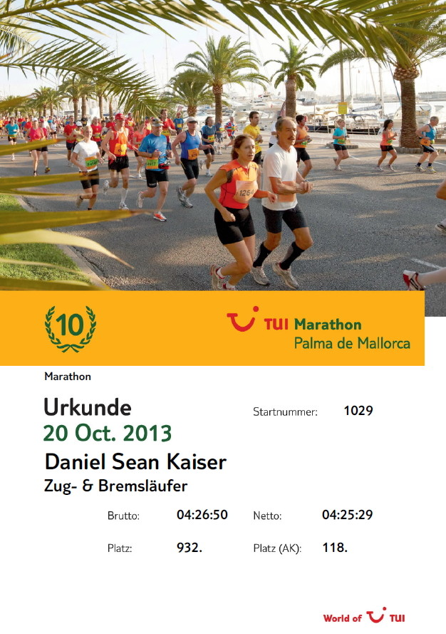 Mallorca Marathon 2013 - Urkunde