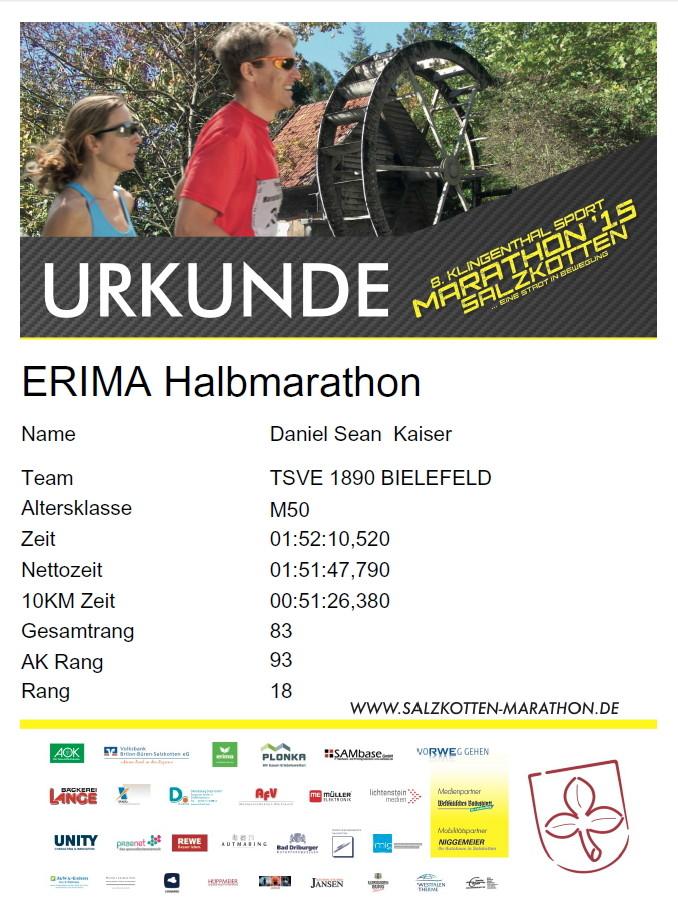 Salzkotten Marathon 2015 - Urkunde