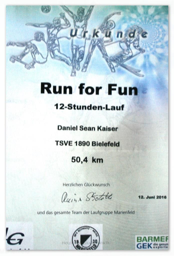 Run for Fun 2016 - Urkunde