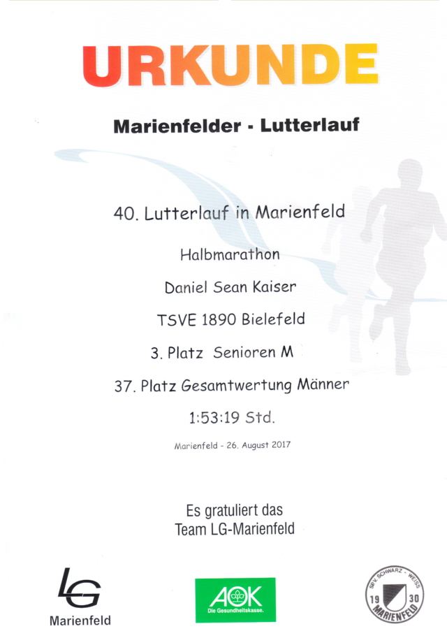 Lutterlauf Marienfeld 2017 - Urkunde
