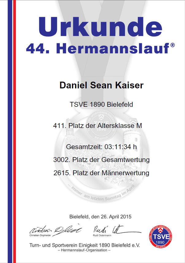 Hermannslauf 2015 - Urkunde