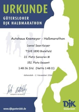DJK-Halbmarathon 2014 - Urkunde