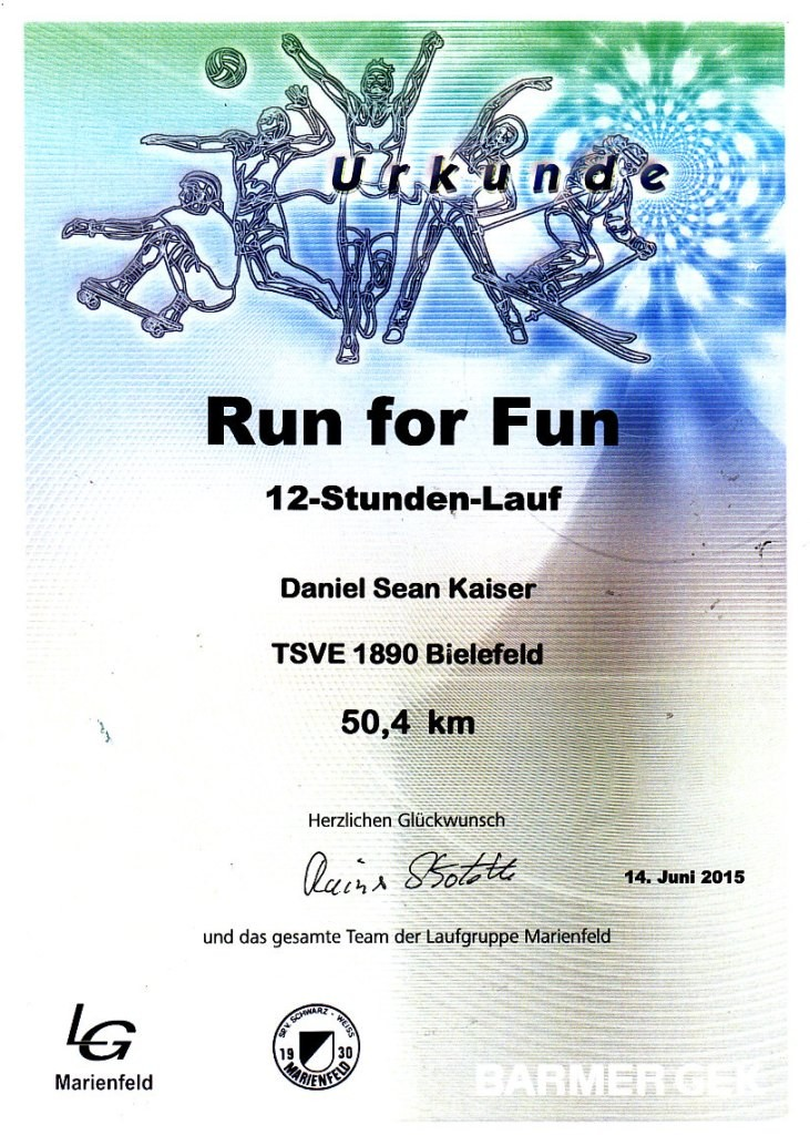 Run for Fun - Marienfeld 2015 - Urkunde