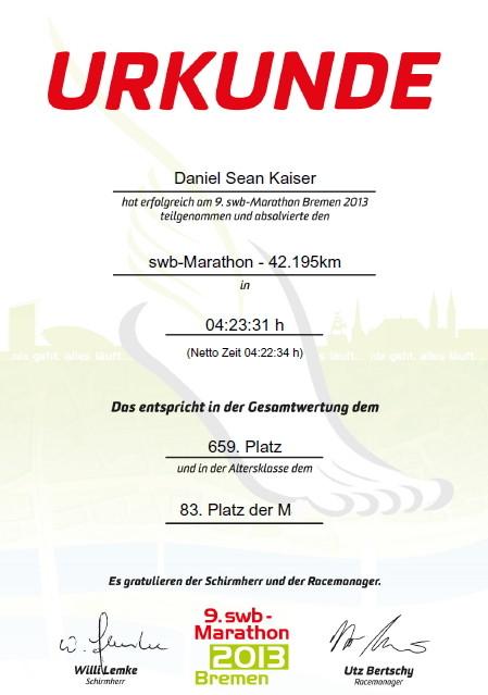 Bremen Marathon 2013 - Urkunde