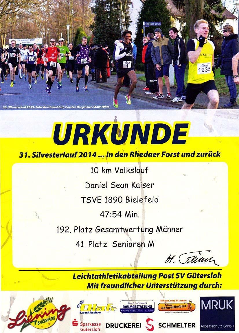 Silvesterlauf 2014 - Urkunde