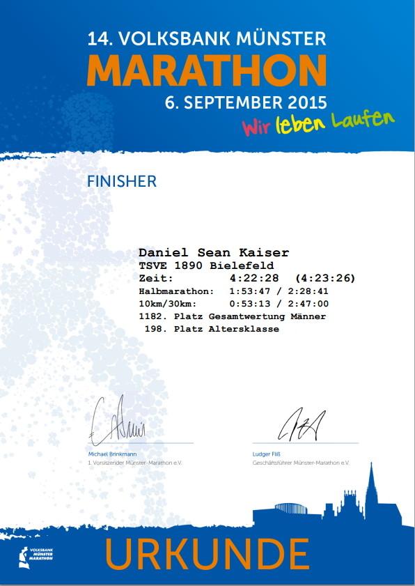 Münster Marathon 2015 - Urkunde