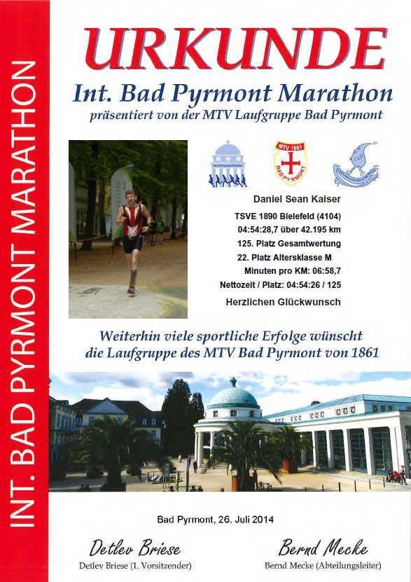 Int. Bad Pyrmont Marathon 2014 - Urkunde DSK