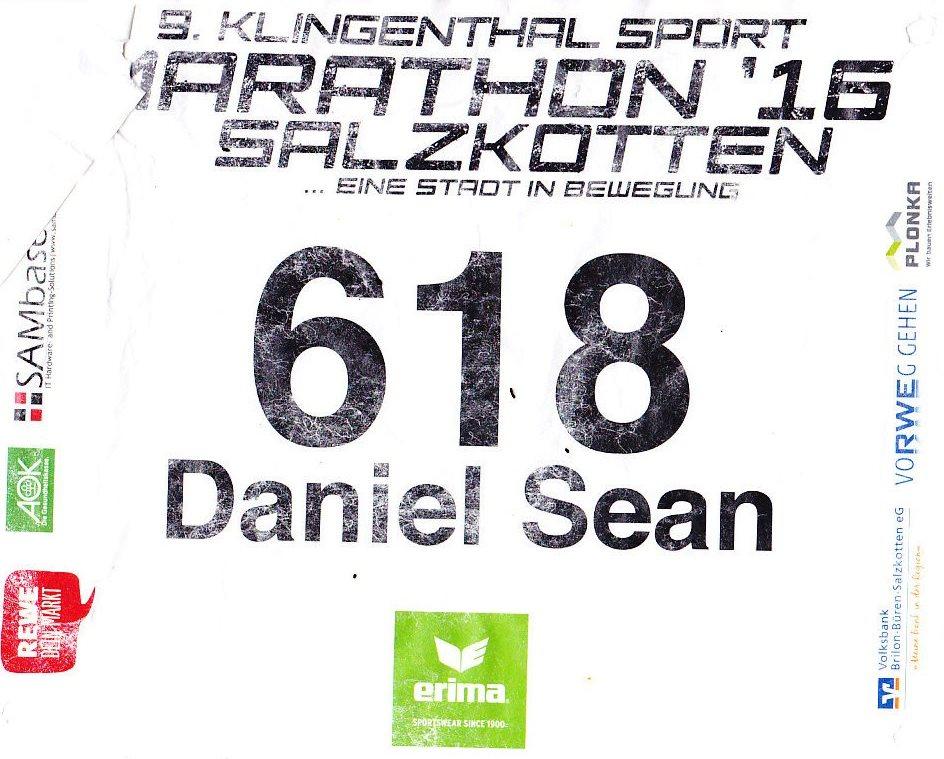 Salzkotten (Halb)Marathon 2016 - Startnummer