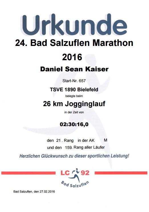 Bad Salzuflen (Block-) Marathon 2016 - Urkunde