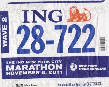 Startnummer 28-722 - New York City Marathon 2011