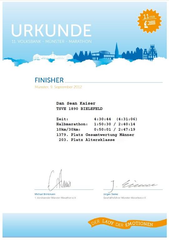 Münster Marathon 2012 - Urkunde