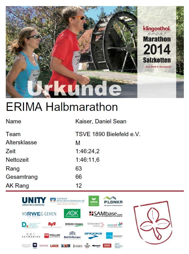 Salzkotten (Halb-) Marathon 2014 - Urkunde