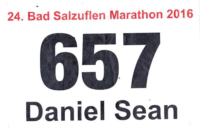 Bad Salzuflen (Block-) Marathon 2016 - Startnummer
