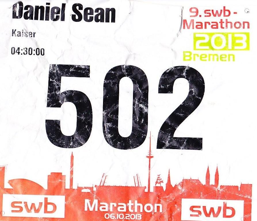 Bremen Marathon 2013 - Startnummer