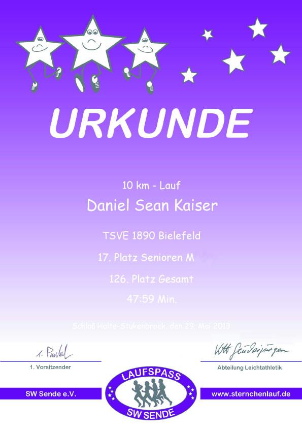 Sternchenlauf 2013 - Urkunde