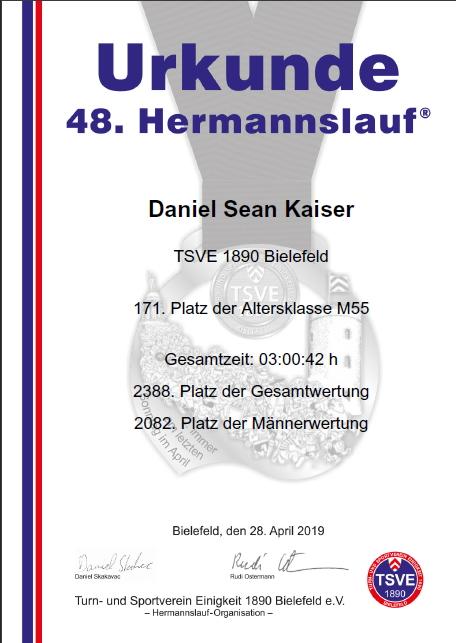 Hermannslauf 2019 - Urkunde