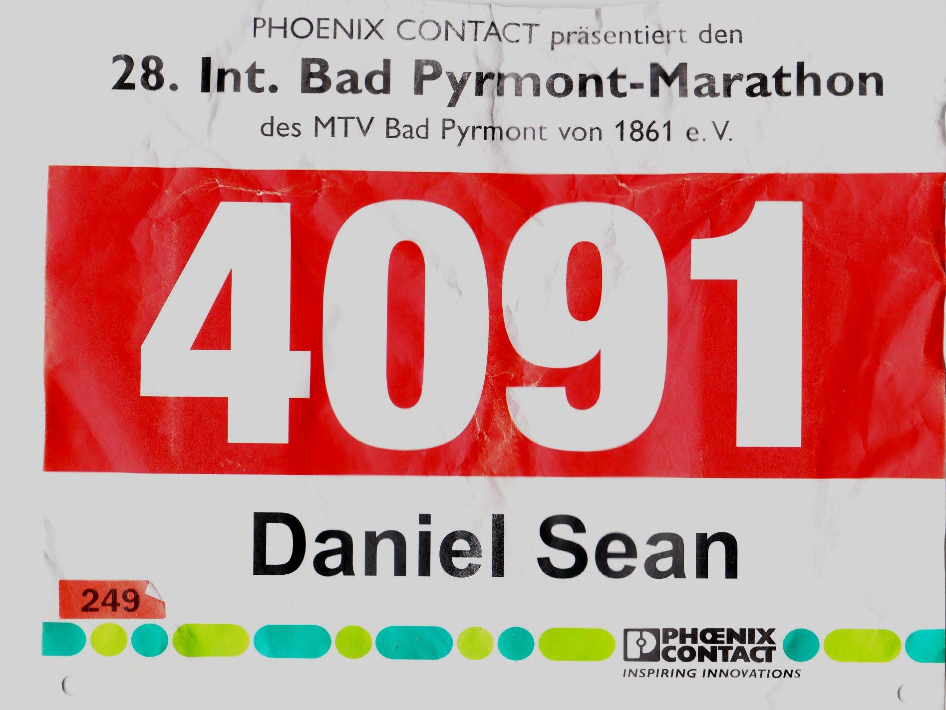 Bad Pyrmont Marathon 2017 - Startnummer