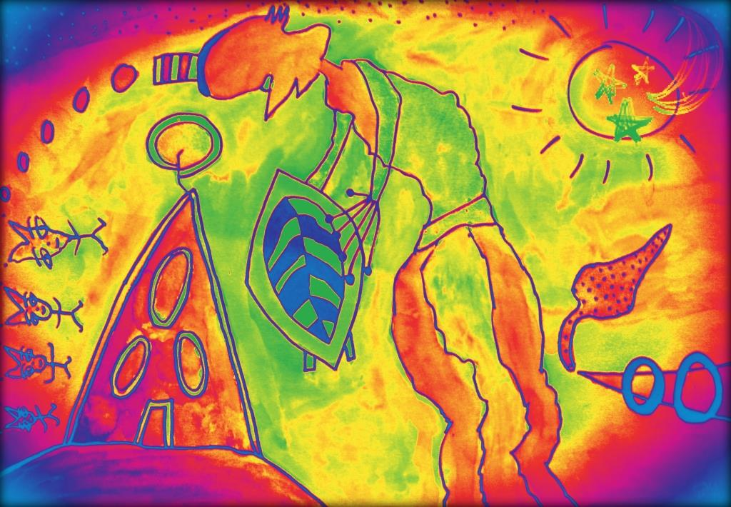Raumschiff-Nostalgie (Vol. 3) - Tinte/Tusche/Aquarell auf Papier & MixedMedia - 35 x 50 cm - by Don16