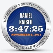 Offizielle Zielzeit für DsA-Sport - New York City Marathon 2011