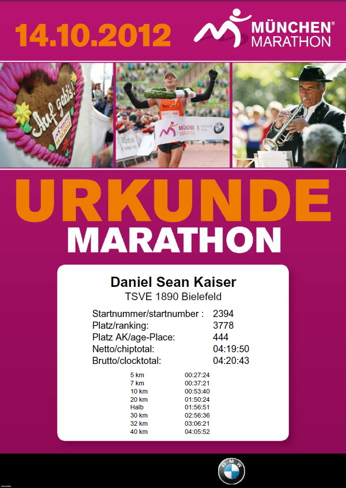München Marathon 2012 - Urkunde