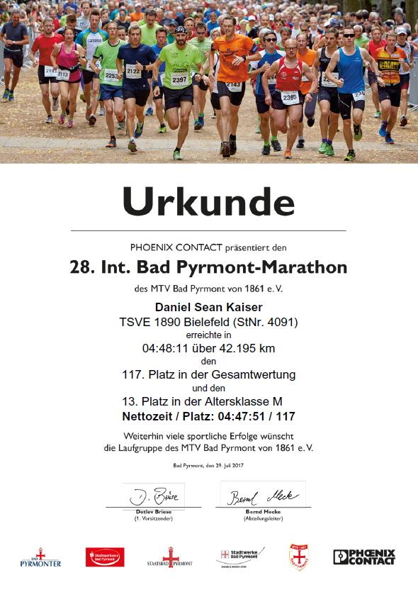 Bad Pyrmont Marathon 2017 - Urkunde