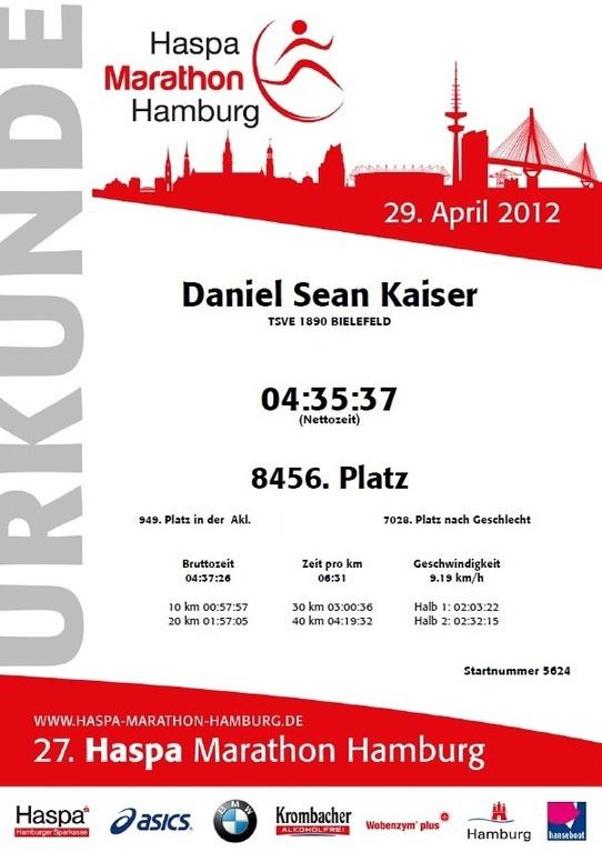 Hamburg Marathon 2012 - Urkunde