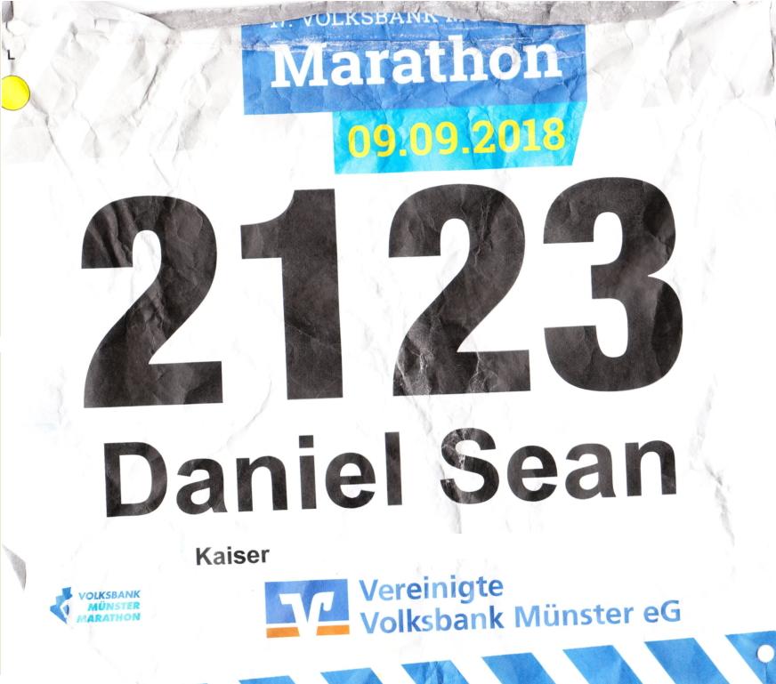 Münster Marathon 2018 - Startnummer