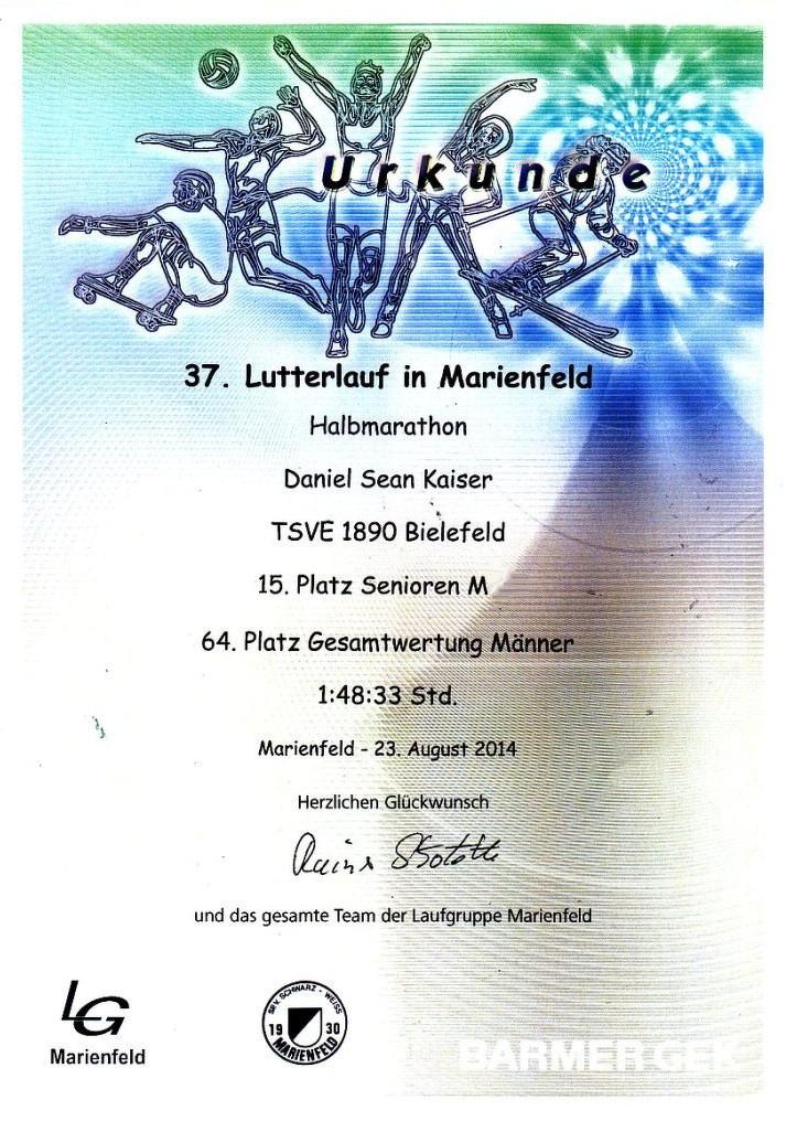 Urkunde Lutterlauf - Marienfeld 2014