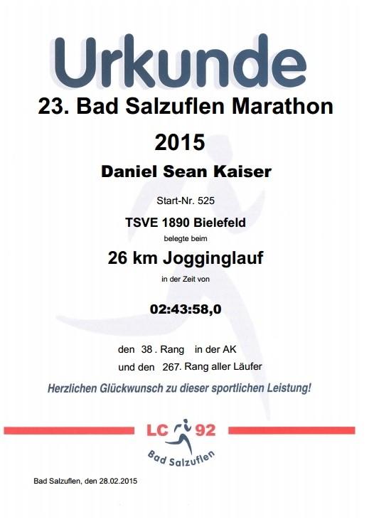 Bad Salzuflen Marathon 2015 - Urkunde