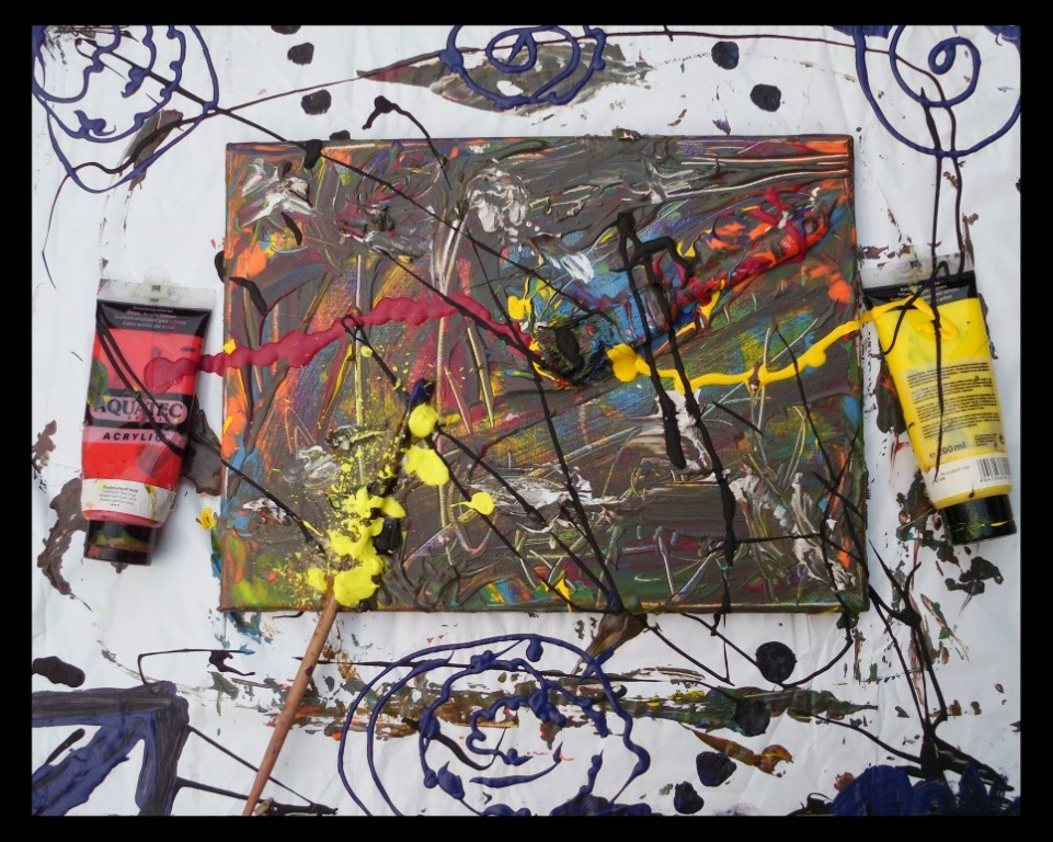 Unfinished (Paintbrush and Plastic) 2015 Installation (Acrylic on canvas, paper, cardboard) with paintbrushes and plastic tubes - 60 x 70 cm - by Don15